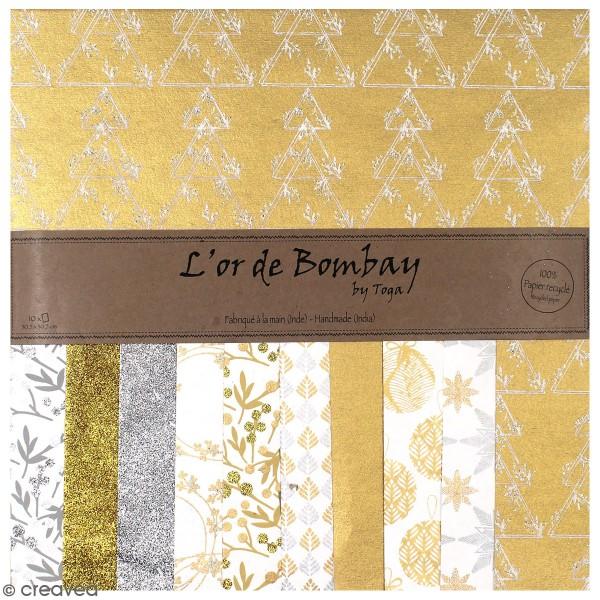 Papier l'Or de Bombay - Noël - 30,5 x 30,5 cm - 10 feuilles - Photo n°1
