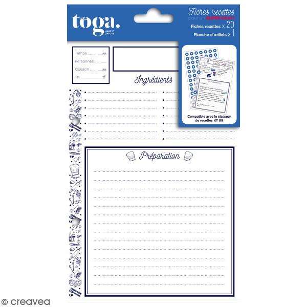 Fiches de recettes Pour classeur Toga - 14 x 21 cm - 20 pcs - Photo n°1