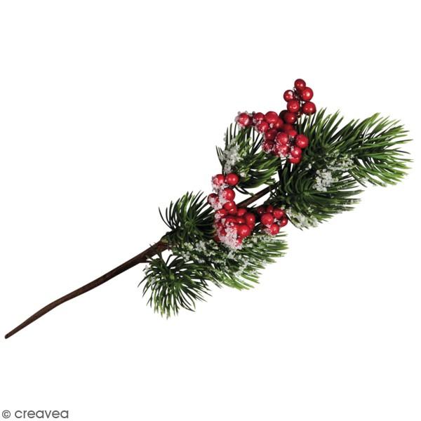 Branche de sapin - Givre et baies rouges - 24,5 cm - Photo n°1