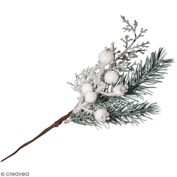 Branche de sapin - Givre et boules blanches - 31 cm - Photo n°1