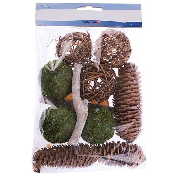 Assortiment pot pourri - Pommes de pin et boules en rotin - 100 gr - Photo n°1