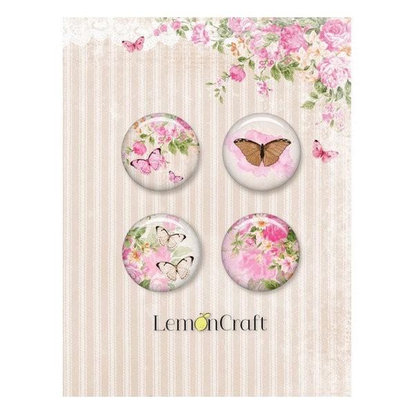 4 badges métal décoration scrapbooking 2,4 cm LemonCraft SWEET SECRETS - Photo n°1