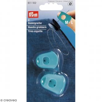 Dés à coudre Tire aiguille - Bleu turquoise - M et L - 2 pcs