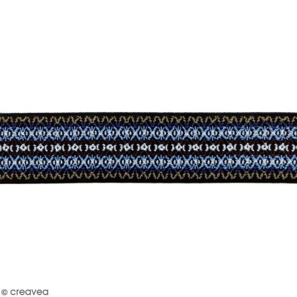 Ruban élastique brodé - Dessin bleu - 50 mm - Au mètre (sur mesure) - Photo n°1