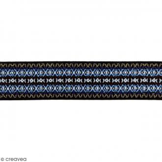 Ruban élastique brodé - Dessin bleu - 50 mm - Au mètre (sur mesure)
