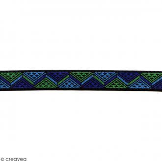 Ruban élastique brodé - Triangles bleu - 25 mm - Au mètre (sur mesure)