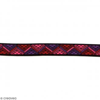 Ruban élastique brodé - Triangles fuchsia - 25 mm - Au mètre (sur mesure)