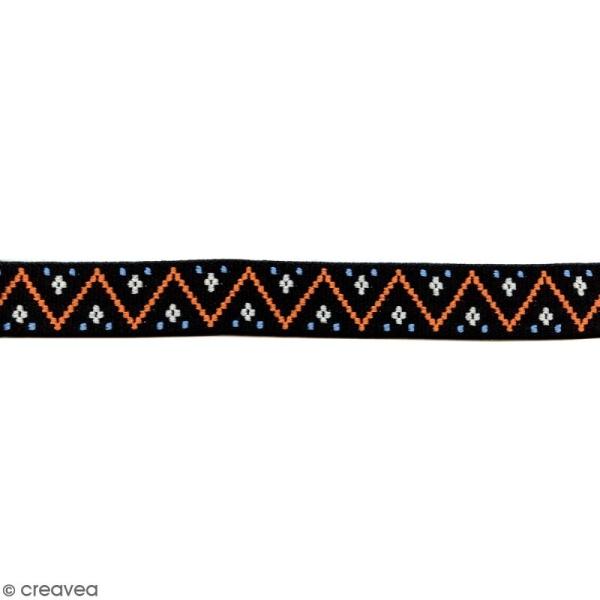 Ruban élastique brodé - Zigzag noir - 25 mm - Au mètre (sur mesure) - Photo n°1