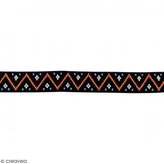 Ruban élastique brodé - Zigzag noir - 25 mm - Au mètre (sur mesure)