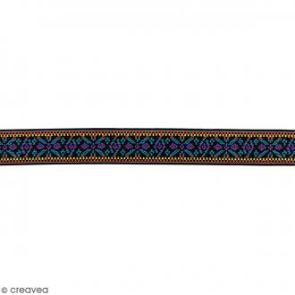 Ruban élastique brodé - Fleur lilas et turquoise - 25 mm - Au mètre (sur mesure)