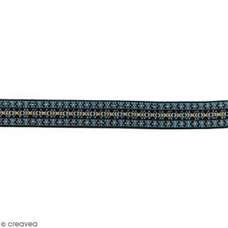 Ruban élastique brodé - Ethno bleu et fuchsia - 25 mm - Au mètre (sur mesure)