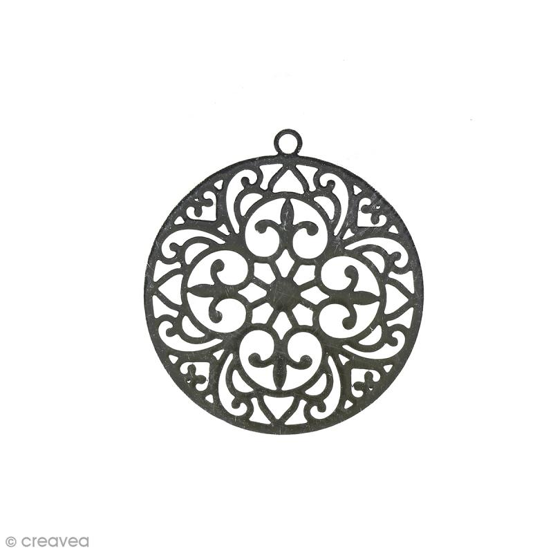 Pendentif estampe Rond en filigrane - Gris rhodium - 20 mm - Photo n°1