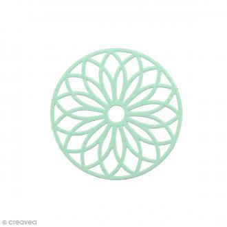 Pendentif estampe Rosace en filigrane - Bleu Veraman - 24 mm