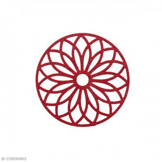 Pendentif estampe Rosace en filigrane - Rouge corail - 24 mm