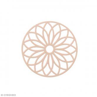 Pendentif estampe Rosace en filigrane - Rose saumon - 24 mm