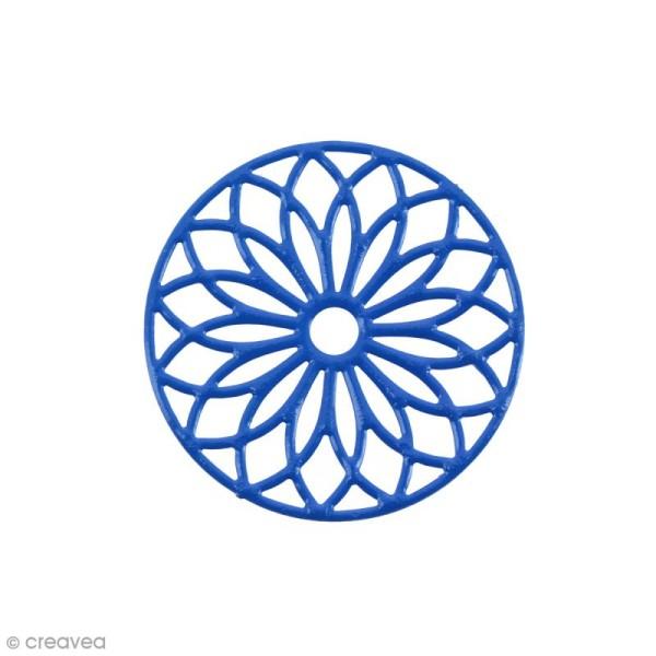 Pendentif estampe Rosace en filigrane - Bleu foncé - 24 mm - Photo n°1