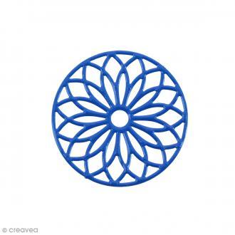 Pendentif estampe Rosace en filigrane - Bleu foncé - 24 mm