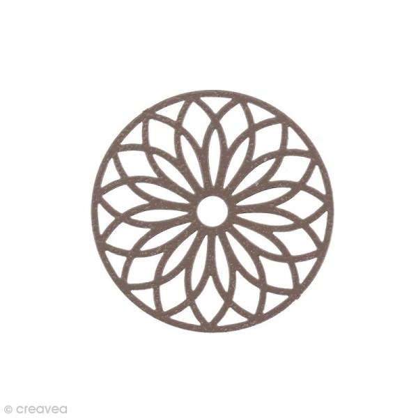 Pendentif estampe Rosace en filigrane - Marron - 24 mm - Photo n°1