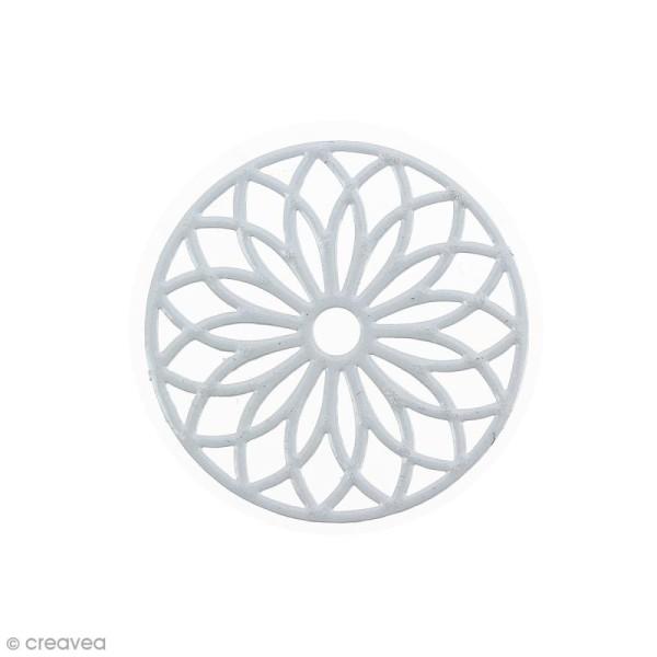 Pendentif estampe Rosace en filigrane - Gris foncé - 24 mm - Photo n°1