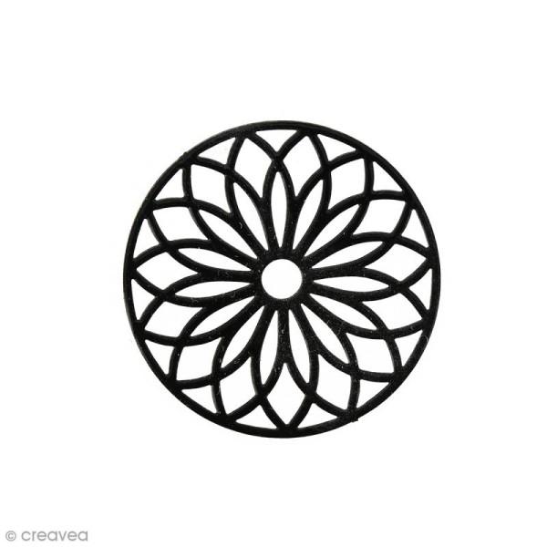 Pendentif estampe Rosace en filigrane - Noir - 24 mm - Photo n°1