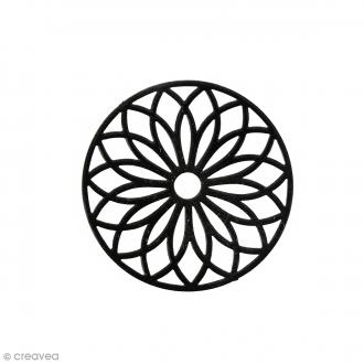Pendentif estampe Rosace en filigrane - Noir - 24 mm