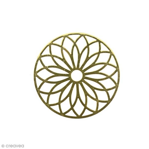 Pendentif estampe Rosace en filigrane - Jaune doré - 24 mm - Photo n°1