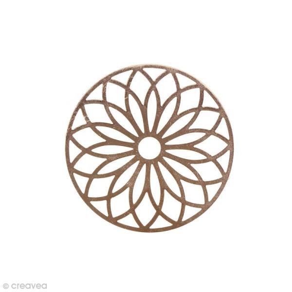Pendentif estampe Rosace en filigrane - Rose doré - 24 mm - Photo n°1