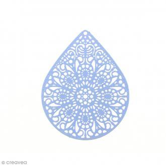 Pendentif estampe Goutte en filigrane - Bleu - 39 x 49 mm