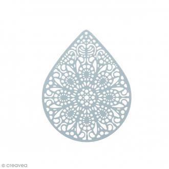 Pendentif estampe Goutte en filigrane - Bleu gris - 39 x 49 mm