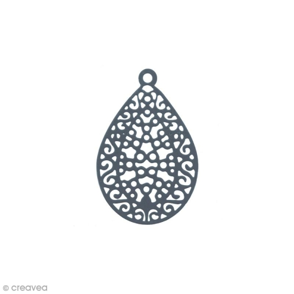 Pendentif estampe Goutte en filigrane - Bleu gris - 16 x 24 mm - Photo n°1