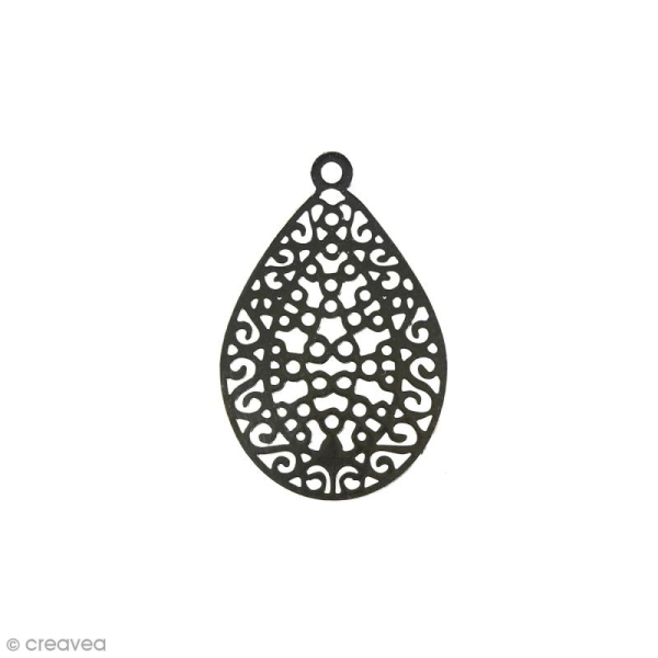Pendentif estampe Goutte en filigrane - Gris rhodium - 16 x 24 mm - Photo n°1