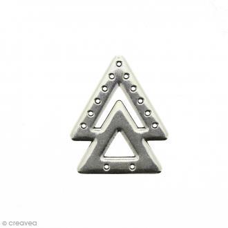 Intercalaire 2 triangles Gris argenté veilli en métal - 23 x 38 mm