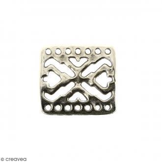 Breloque intercalaire Bracelet Argentée en métal - 18 x 16 mm