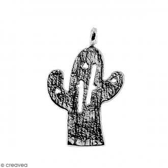 Breloque Cactus Argenté en métal - 11 x 14 mm