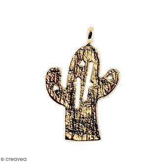 Breloque Cactus Doré en métal - 11 x 14 mm