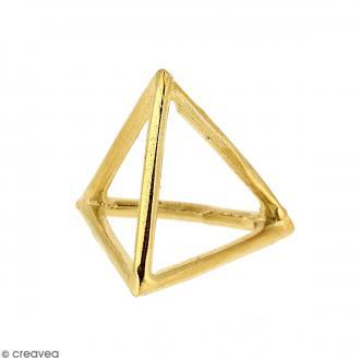 Breloque Cage Pyramide Doré en métal - 20 mm