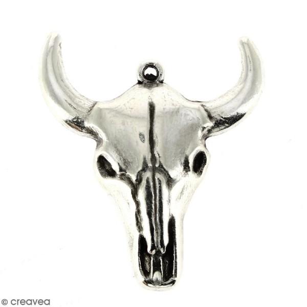 Pendentif Tête de taureau Argenté vieilli en métal - 28 x 32 mm - Photo n°1