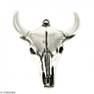 Pendentif Tête de taureau Argenté vieilli en métal - 28 x 32 mm