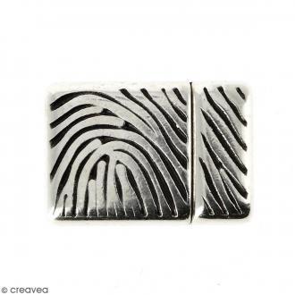 Fermoir aimanté avec empreinte - Argenté vieilli - 20 x 14 mm