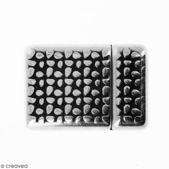 Fermoir aimanté avec fleurs - Argenté vieilli - 20 x 14 mm