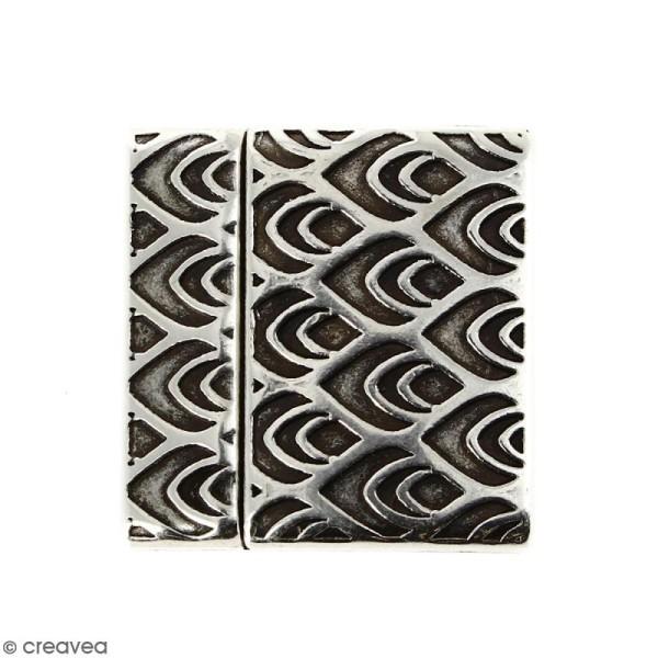 Fermoir aimanté avec dessins de pume de paon - Argenté vieilli - 24 mm - Photo n°1