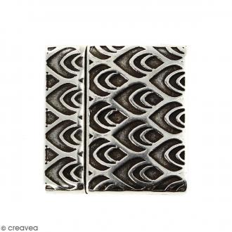 Fermoir aimanté avec dessins de pume de paon - Argenté vieilli - 24 mm