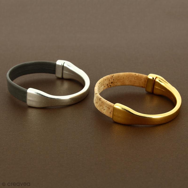 Demi-bracelet Doré à fermoir aimanté - 105 mm de diamètre - Pour cuir plat 10 mm - Photo n°3
