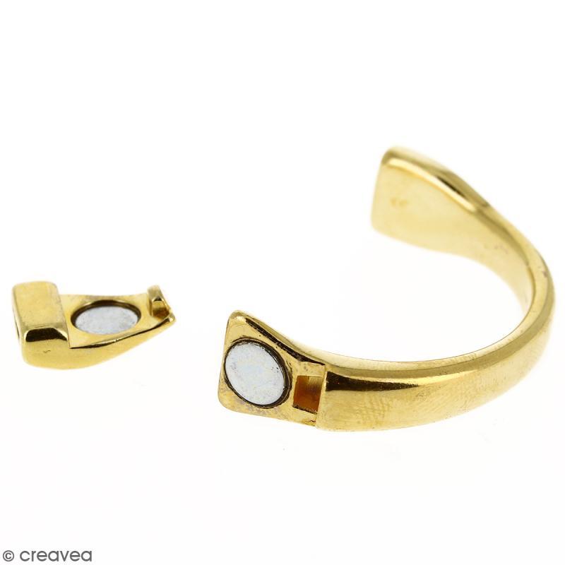 Demi-bracelet Doré à fermoir aimanté - 105 mm de diamètre - Pour cuir plat 10 mm - Photo n°5