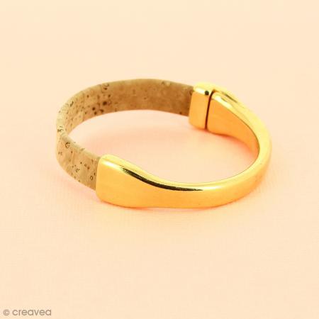 Demi-bracelet Doré à fermoir aimanté - 105 mm de diamètre - Pour cuir plat 10 mm - Photo n°2