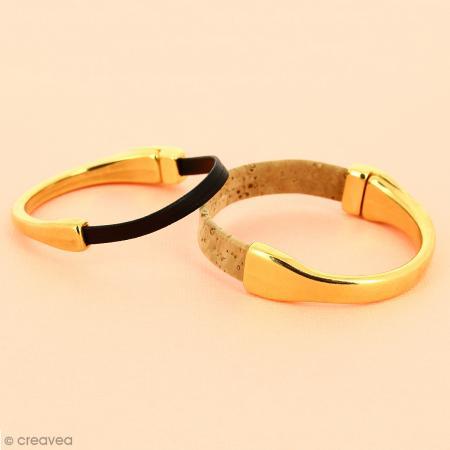 Demi-bracelet Doré à fermoir aimanté - 105 mm de diamètre - Pour cuir plat 10 mm - Photo n°4