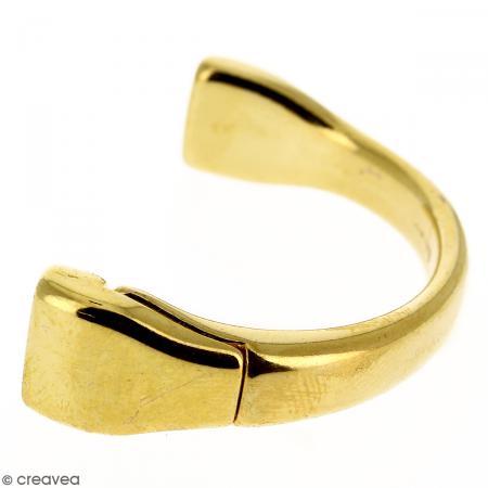 Demi-bracelet Doré à fermoir aimanté - 105 mm de diamètre - Pour cuir plat 10 mm - Photo n°1
