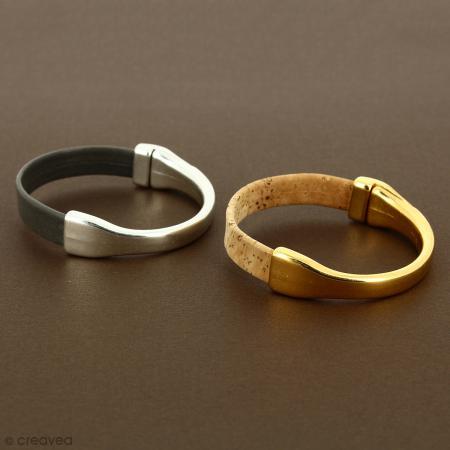 Demi-bracelet Argenté à fermoir aimanté - 105 mm de diamètre - Pour cuir plat 10 mm - Photo n°3