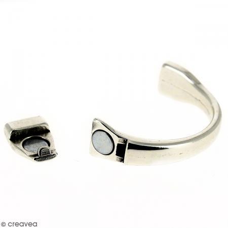 Demi-bracelet Argenté à fermoir aimanté - 105 mm de diamètre - Pour cuir plat 10 mm - Photo n°4