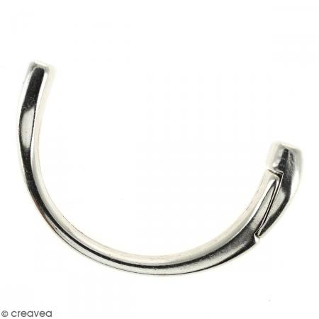 Demi-bracelet Argenté à fermoir aimanté - 105 mm de diamètre - Pour cuir plat 10 mm - Photo n°5